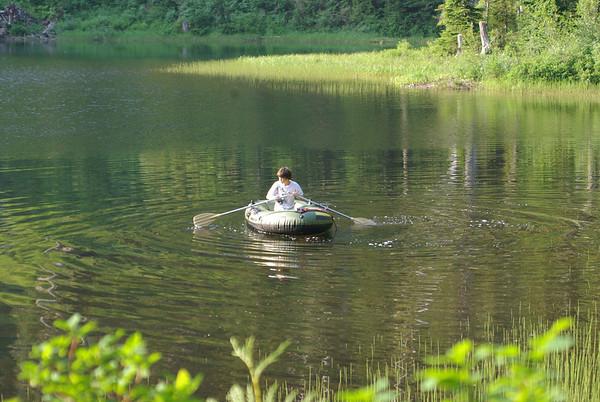 Max in the boat, Lake Elizabeth