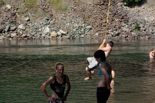 Rope swing into a cold Miller River! Refreshing!