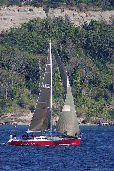 Interesting sailboat off of Discovery Park
