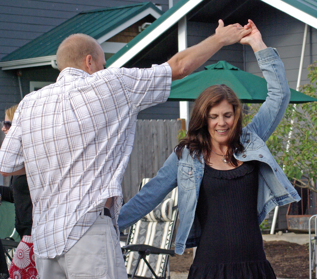 Geary and his wife dance