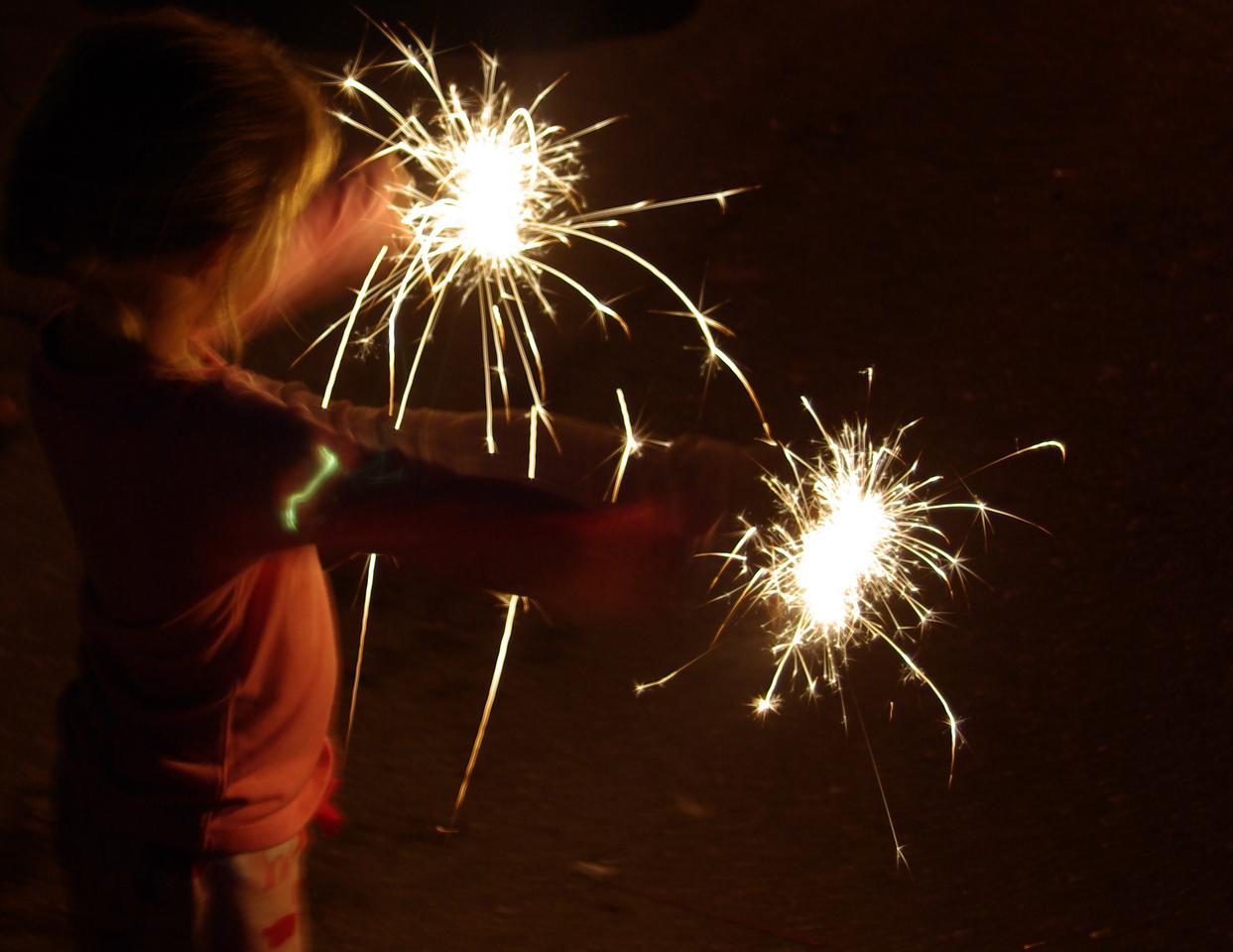 The joy of sparklers!  July 4, 2009, Lake Stevens WA.