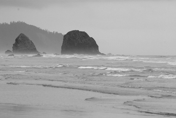 09/26/09.  Cannon Beach, Oregon in August.  It was a very grey day, and rendering this in b&w seemed to match the feel of the beach while we were there.