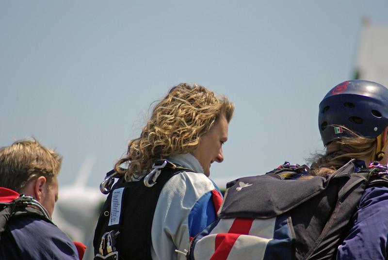 Susan walking to the plane