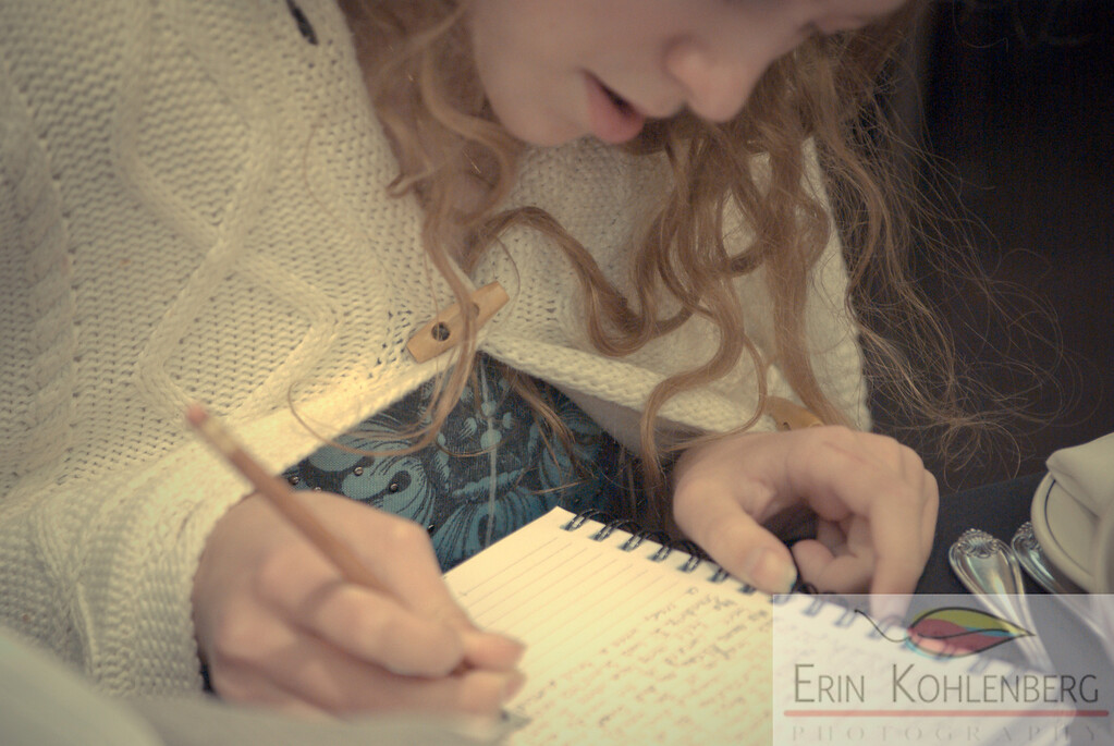 theme: the people in our lives focus: faceless photos  Well, Not really faceless, but the focus was not on her face; I wanted to capture her concentrating on her writing. She was accompanying her dad at a banquet.