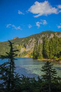 Clear blue waters at Mowich Lake