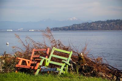 Beach chairs at a private beach access in Clinton, WA