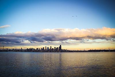 Seattle skyline at sunset from Alki