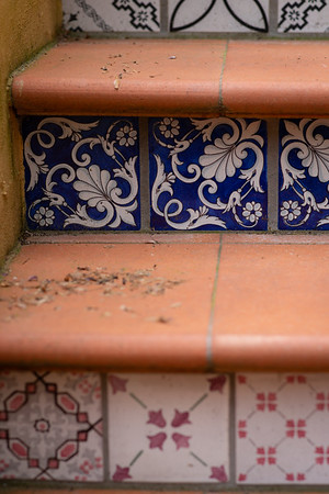 Tiled steps on Costa San Giorgio, Florence, Italy