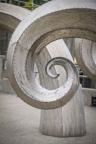 Paul Sorey's sculpture Salmon Waves at Ballard Locks