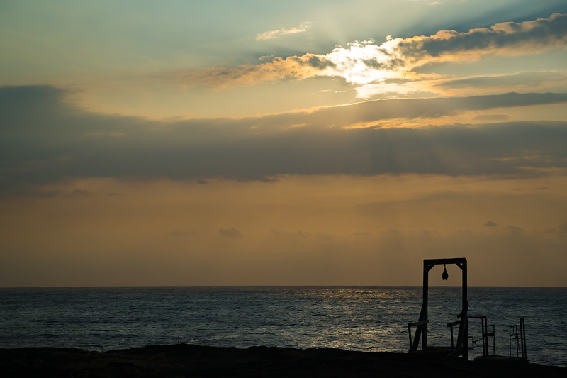 Sunset on the southernmost point of the United States and a diving platform, Hawaii