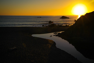 Sunset on the beach at Scotty Creek in Sonoma County, CA