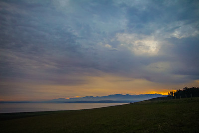 A hint of sunset fire on Whidbey Island in Washington state