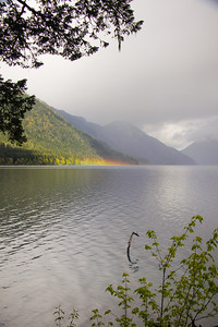 The slightest hint of a rainbow on Lake Crescent after a shower