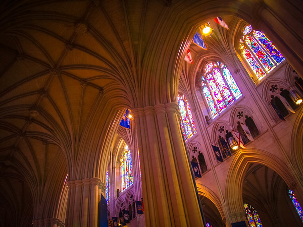 Stained glass high above
