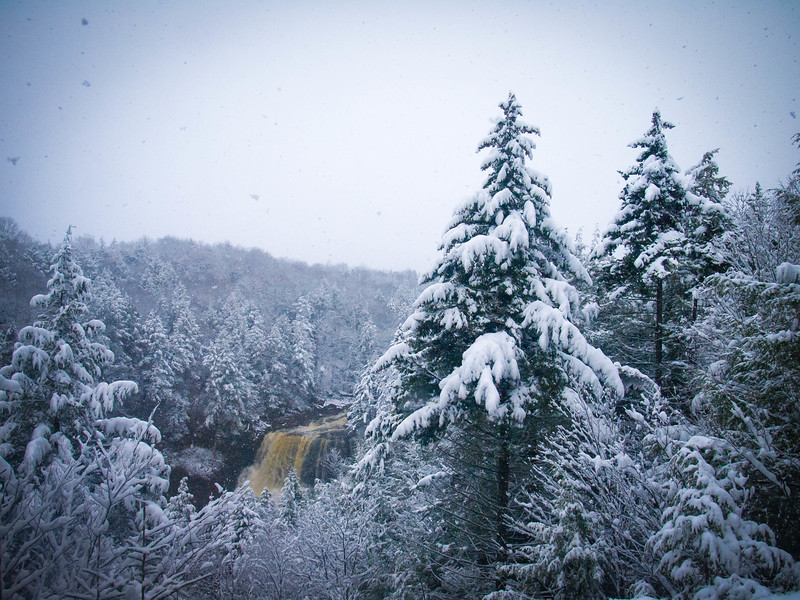 Blackwater Falls in the snow