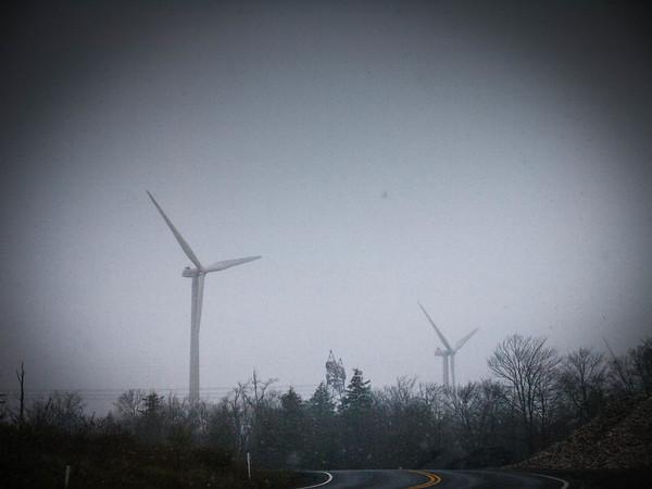Wind turbines in the snow