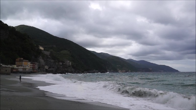 A stormy+sunny day in Monterosso, one of the villages of Cinque Terre, Italy
