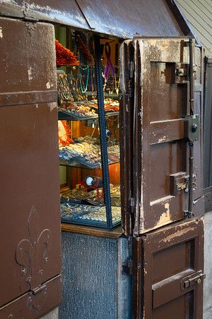 Wooden security gates on jewelers' stalls on Ponte Vecchio