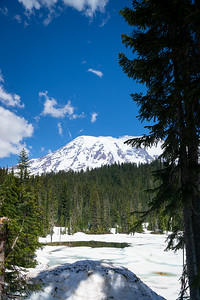 Reflection Lakes and Rainier in snowmelt