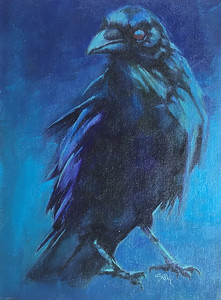 Raven oil painting  $375