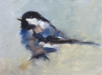 Black capped chickadee painting  $195