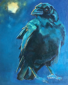 Crow oil Painting  16 x 20  $650