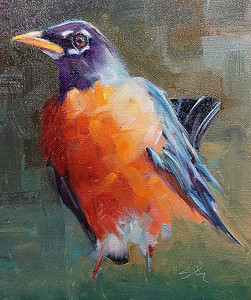 Original Robin oil painting 8 x10 $275