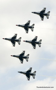The Thunderbird Solos, featuring gray radomes, join up with the Thunderbird Diamond to form the 6-ship Delta formation at Keesler AFB, Miss., April 4.  USAF Photo by Staff Sgt. Kristi Machado (RELEASED)