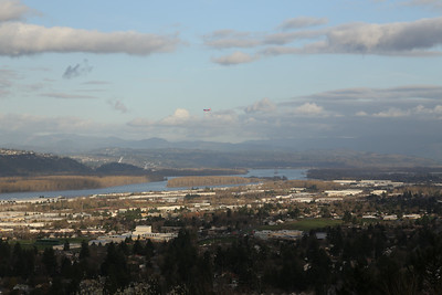 Plane coming into PDX, from Rocky Butte