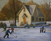 """Lake Afton Ice Skaters"" ©2009 Susie Morrell oil on canvas 30"" x 20"""