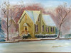 """Lake Afton Library at Christmas"" ©2011 Susie Morrell oil on canvas  8"" x 6"""