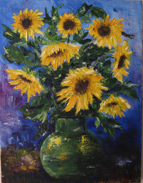 """""""Sunflowers"""" ©2008 Susie Morrell oil on canvas 16"""" x 20"""""""