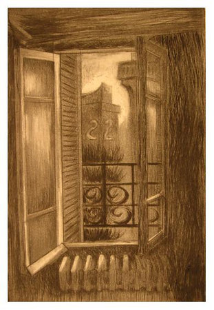 "Paris '01<br /> drypoint/aquatint<br /> 6""x9""; 2006"