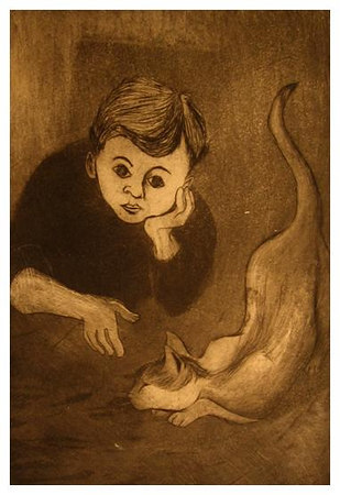 """MY CAT<br /> drypoint/aquatint<br /> 6""""x9""""<br /> edition of 15, 1992"""