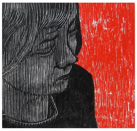 """Jacqueline""<br /> Wood engraving 4.25""x4.25""<br /> edition of 10; 2008<br /> BIG Arts juried show 1/08<br /> Juror's Merit Award"