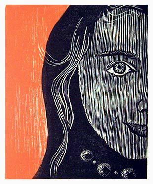 """CHARLOTTE ROSE""<br /> Wood engraving 4""x5"" <br /> Edition of 15; 2007"