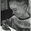 """Calvin the Young Artist""<br /> wood engraving 5""x6""<br /> edition of 15; 2010"