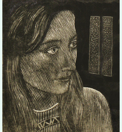 """Jacqueline (jeune fille)""<br /> wood engraving 5""x6""<br /> edition of 10:2013"