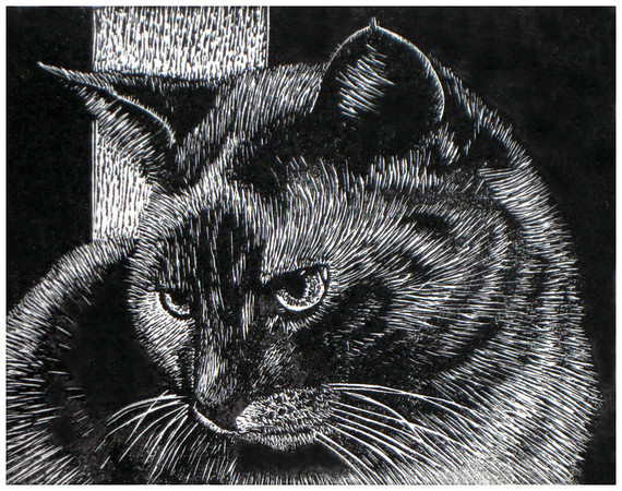 """""""Diva""""<br /> wood engraving 4""""x 5""""<br /> edition of 20: 2012"""