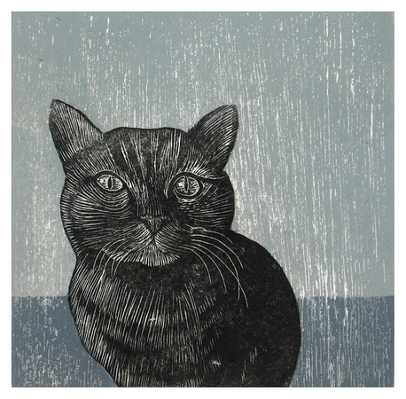 """""""Gato""""<br /> Wood engraving 5""""x5""""<br /> edition of 10; 2007<br /> BIG Arts juried show 2/08"""