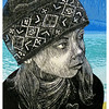 "'Grandma's Hat""<br /> wood engraving 4""x5""<br /> edition of 8; 2011"