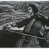 """Violoncello""<br /> wood engraving; 3""x4""<br /> edition of 30; 2011<br /> <br /> First Prize, Sanibel Library Juried Show 2/13"