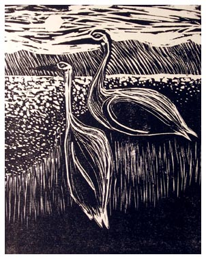 """CRANES""<br /> Wood Engraving<br /> 4""x5""<br /> Edition of 20; 2007"