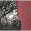 """Grandma's Hat 2""<br /> wood engraving/woodcut<br /> 5""x5.75""<br /> edition of 15; 2011"