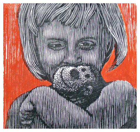 """""""Isabel & MoMo""""<br /> wood engraving 5""""x5""""<br /> edition of 10; 2010"""