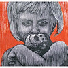 """Isabel & MoMo""<br /> wood engraving 5""x5""<br /> edition of 10; 2010"
