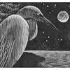 """Egret Moon""<br /> wood engraving 4""x3""<br /> edition of 30; 2010<br /> selected for inclusion in 2011 Calendar of Days"