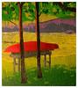 """""""Kayak At Rest""""<br /> reduction woodcut; 8""""x 9""""<br /> edition of 7:  2008<br /> <br /> Judge's Merit Award:  SanCap Art League Juried Show 2009<br /> <br /> Second Place: Cape Cod All Cape Show 2009"""