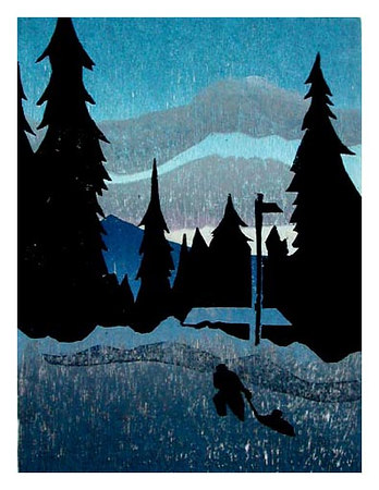 "GIRDWOOD NOVEMBER MORNING<br /> color woodcut<br /> 8""x10.5""<br /> edition of 20, 2006"