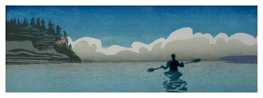 """""""Kayak""""<br /> Color Woodcut 5""""x14""""<br /> Edition of 15, 2007<br /> <br /> Southwest Florida Council Juried Show<br /> March, 2007<br /> <br /> Best Graphic<br /> Falmouth Artists Guild Summer Show, 2007"""